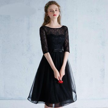 Black Evening Designer Lace O-Neck Backless Dresses Formal Dress for Party