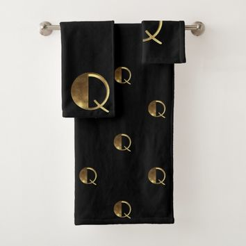 Monogram Q Black and Gold Look Elegant Typography Bath Towel Set