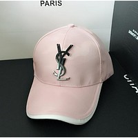YSL Popular Women Men Metal Letter Logo Sports Sun Hat Baseball Cap Hat Pink I13119-1
