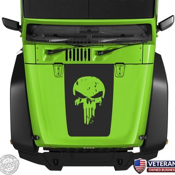 Punisher-Skull-Hood-Blackout-Vinyl-Decal-Sticker-fits-Jeep-Wrangler-JK-TJ-YJ