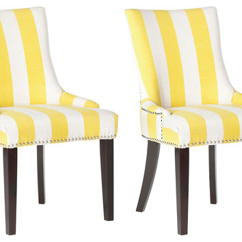 Yellow Lester Dining Chairs, Pair, Side Chairs