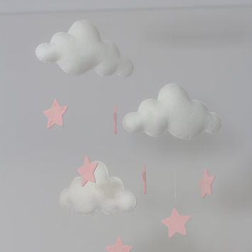 White and Pale Pink Stars Merino Felt Cloud Mobile with RainDrops Baby Nursery Childrens Decor