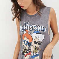 FOREVER 21 The Flintstones Muscle Tee Charcoal/Multi