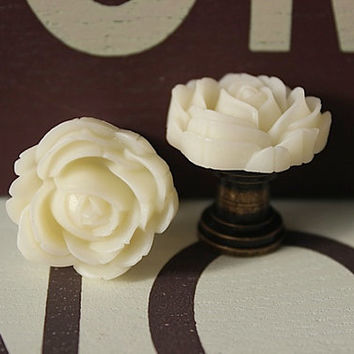 Drawer knobs with Blooming Rose in Cream White MORE COLORS Available (RFK04)