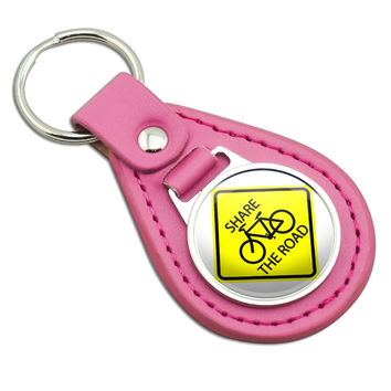 Share The Road Bicycle Basic Yellow Sign Pink Leather Keychain