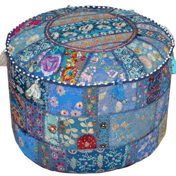 Pretty Indian Bohemian Pouf Ottoman Stool Vintage Patchwork Living Room Ottoman pouf Hassock bench furniture pouffe footstool chair bean bag