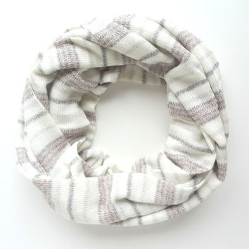 Glitter Scarf, Shimmer Scarf, Knit infinity scarf, Striped Infinity Scarf, Chunky Scarf, Cream Pink Scarf