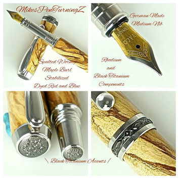 Custom Wooden Pen Fountain Pen Beautiful Spalted and Wormy Maple Burl Rhodium and Black Titanium Hardware 744FPA