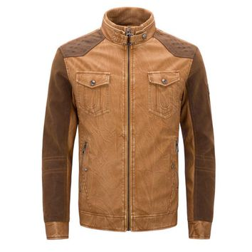 Men's Faux Leather Two-Tone Motorcycle Jacket/Coat