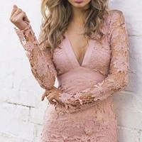 Melting Hearts Lace Scallop Hem V Neck Long Sleeve Sheer Open Bow Back Bodycon Mini Dress - Sold Out