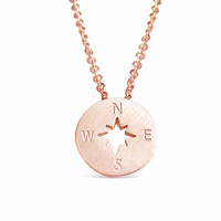 Rose Gold Compass Necklace - Direction of life
