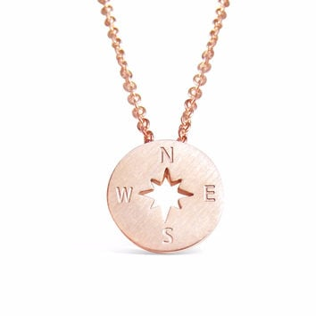 Rose Gold Compass Necklace - Direction of life b435b4e8c