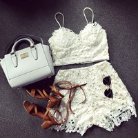 Lace Bralette Top and High Rise Shorts