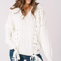 Olwen Lace Up Sweater - Ivory -