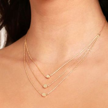 New European Simple Sequins Fashion Women Multilayer Alloy Pendant Necklace Chain Jewelry 2017 Jewelry Gift Girl Collier Coin US