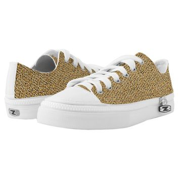 Gold Texture Printed Shoes