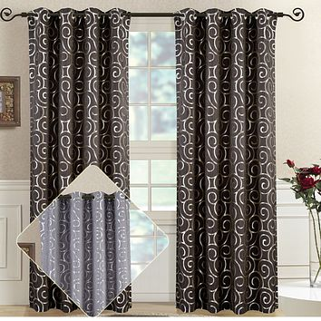 Pair (Set of 2) Top Grommet Window Curtain Panels Abstract Jacquard Tuscany