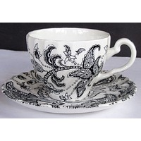 Vintage Black English Transferware Scottish Paisley Tea Cup & Saucer