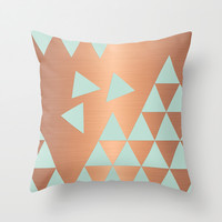 Copper & Mint Throw Pillow by cafelab