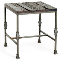 Iron & Reclaimed Wood Side Table