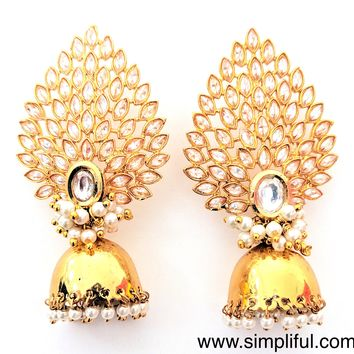 Statement stud pearl clustered small Jhumka Earring