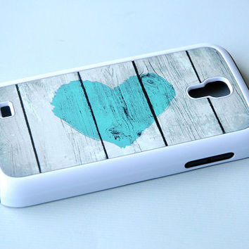 SALE Turquoise Rustic Heart Hybrid Samsung Galaxy S4 Case - Color like Tiffany Blue
