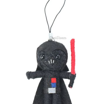 Licensed cool STAR WARS DARTH VADER With Lightsaber Voodoo Doll String Yarn Keychain NEW