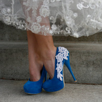 Turquoise Blue Bridal Heel With Venise Lace by walkinonair on Etsy
