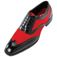 Sio Mens Two-Tone Red Suede and Black Smooth Wingtip Oxford Dress Shoe: Style Brighton Red-005 10 D (M) US