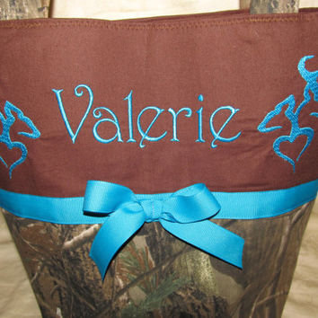 Handmade custom realtree buck and doe deer browning inspired teal and brown purse you choose name