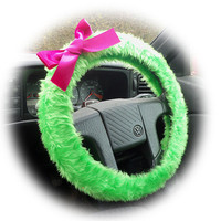 Lime Acid Green faux furry fur fuzzy fluffy car Steering wheel cover with Hot Pink Bow