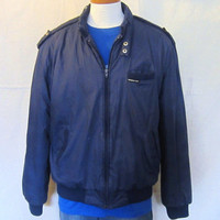 Vintage 80s MEMBERS ONLY Puffy Thick Lined Navy Blue Cafe Racer Medium Large Coat Winter JACKET