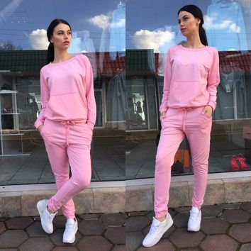New Fashion 2 -Piece Suits style Women Pink &Wine Red & Black Tracksuits Top and Pants 2-piece Sweatshirt+Long Pant Leisure suit