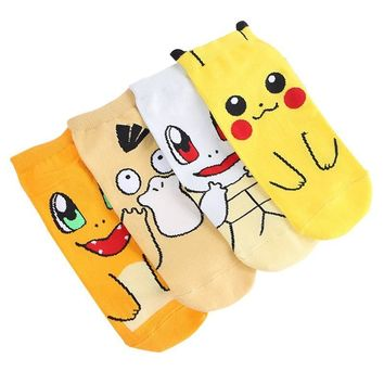 4 Pair/set Cute  Ankle Socks Pikachu/Squirtle/Psyduck/Charmander Women Short Cotton Casual Socks Girls Christmas GiftKawaii Pokemon go  AT_89_9