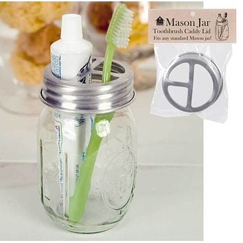Mason Jar Toothbrush Holder Lid - Set of 4