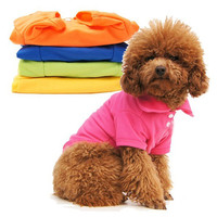 Casual Puppy Cat Pet Dog Clothes Lapel POLO T-Shirts Solid Cozy Shirt XS S M L LM76