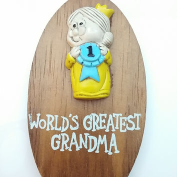 "Vintage 80s Wall Art "" World's Greatest Grandma "" Plaque Trophy"