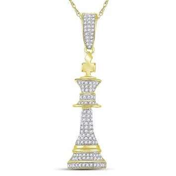 10kt Yellow Gold Mens Round Diamond King Chess Piece Charm Pendant 3/8 Cttw