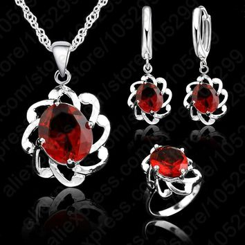 Jemmin Vintage Wonen 925 Sterling Silver Jewelry Sets Hollow Out Austrian Crystal Pendant Necklaces Earrings Ring Brides Set