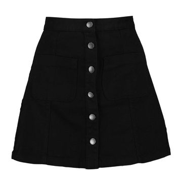 Jinty Patch Pocket Button Through Denim Skirt
