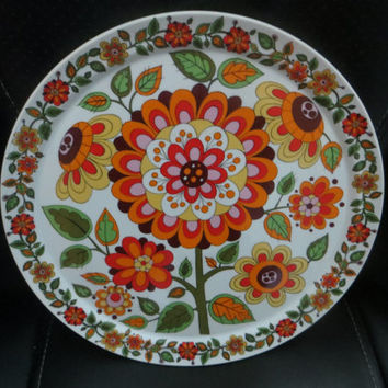 Mod Flowered  Orange Green Schmidt Catalina Plate Brazil 1960s