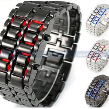 Futuristic Cool Design Blue LED Lava Watch Metallic Black or Sliver Bracelet Ban