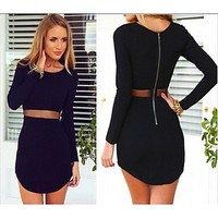 [USD $ 16.75] 2014 New Style Female Prom Party Dress Black Bodycon Long Sleeve Mesh Stretchy Warm Fabric Dress Women Office Dress