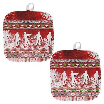 PEAPGQ9 Ugly Christmas Sweater Bloody Zombie Attack Survivor All Over Pot Holder (Set of 2)