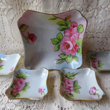 Shabby Chic China Rose Serving Dish with Side Dishes.  Serving Set. Nippon China Dishes. Shabby Pink Roses. Antique Dishes. Floral Tea Party