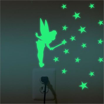 Luminous Cartoon Switch Sticker Glow in the Dark Cat Sticker Fluorescent Fairy Moon Stars Sticker Kid Room Decoration Home Decor
