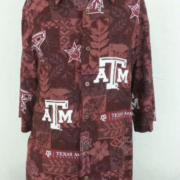 Reyn Spooner Hawaiian Shirt Texas A&M Aggies College Football Mens Manziel 2XL