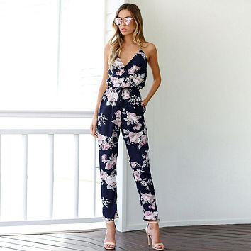 Hot Elegant Women Bohemian Backless Jumpsuit Sleeveless V-Neck Floral Printed Playsuit Loose Floral Summer Mono