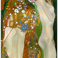 Gustav Klimt Water Serpents Art Poster 11x17