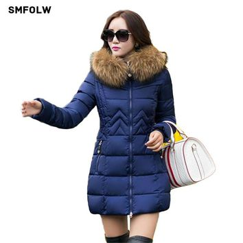 SMFOLW Winter jacket Women 2017 Fashion New winter hooded down jacket fur lined coat Plus size M-4XL Warm Winter parka Women